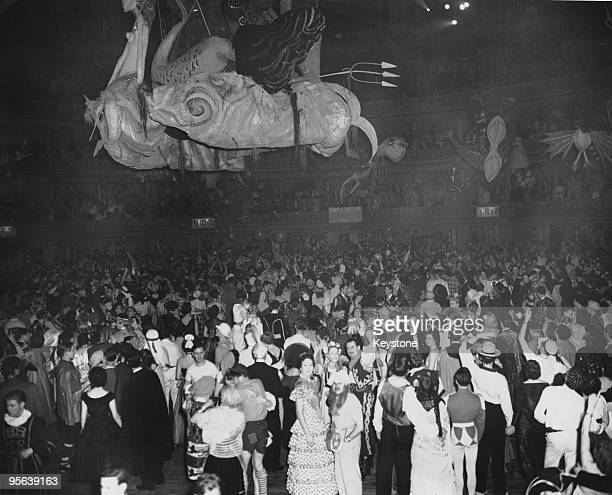 The Chelsea Arts Ball on New Year's Eve at the Albert Hall in London 31st December 1954 The theme of the ball was 'The Seven Seas' and a large model...