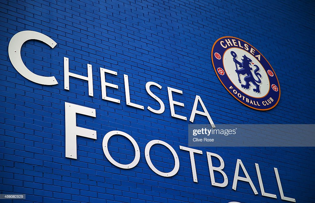 The Chelsea badge is seen on a blue wall ahead of the Barclays Premier League match between Chelsea and Swansea City at Stamford Bridge on December...
