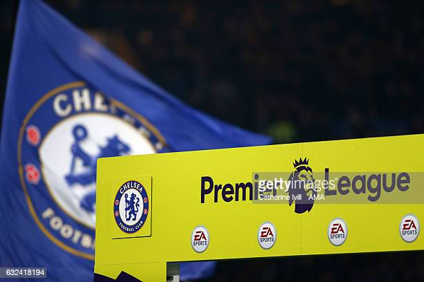 The Chelsea badge next to the Premier League logo before the Premier League match between Chelsea and Hull City at Stamford Bridge on January 22 2017...