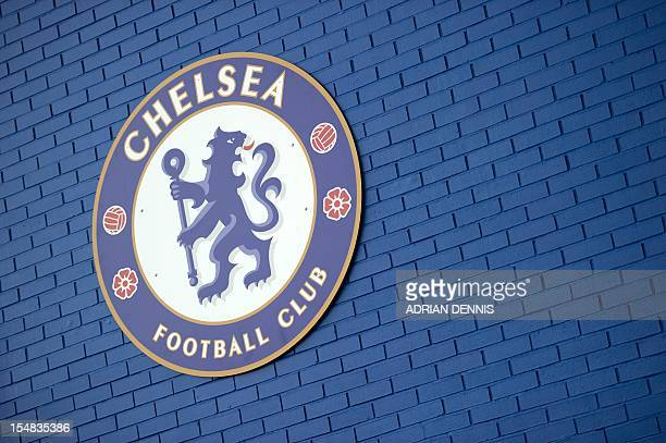 The Chelsea football club badge is seen in the stadium during the English Premier League football match at Stamford Bridge in London on November 20...