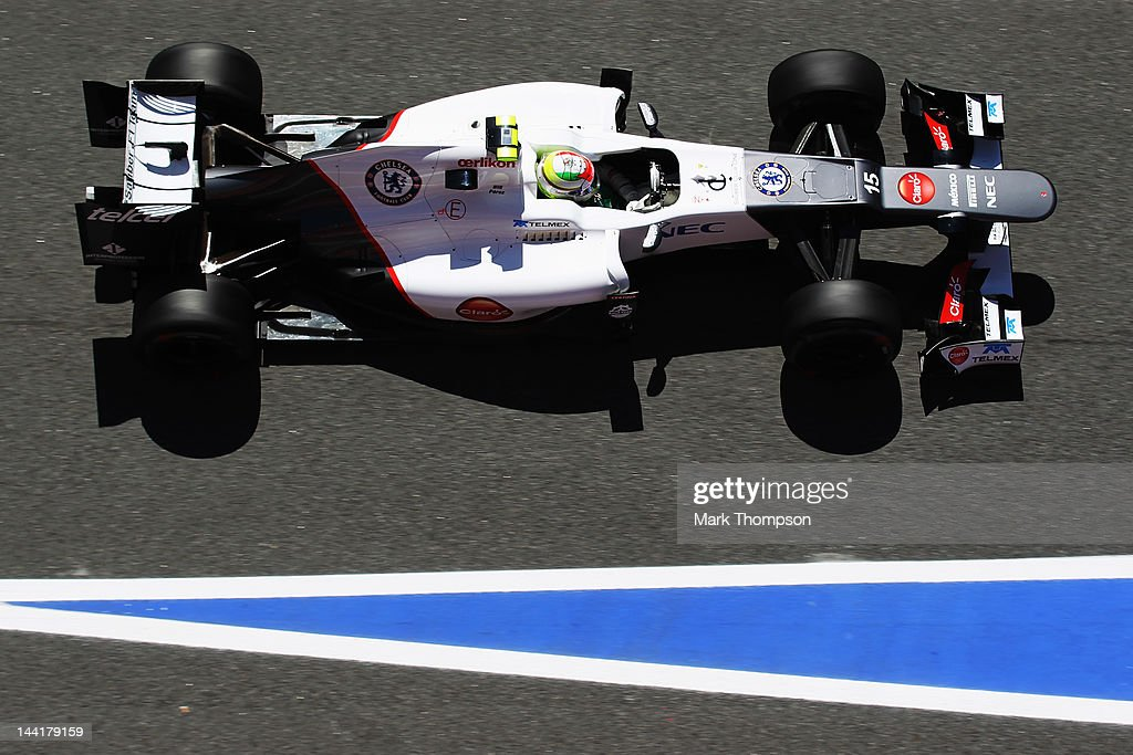 The Chelsea Football Club logo is seen on the car of Sergio Perez of Mexico and Sauber F1 as he drives during practice for the Spanish Formula One Grand Prix at the Circuit de Catalunya on May 11, 2012 in Barcelona, Spain.