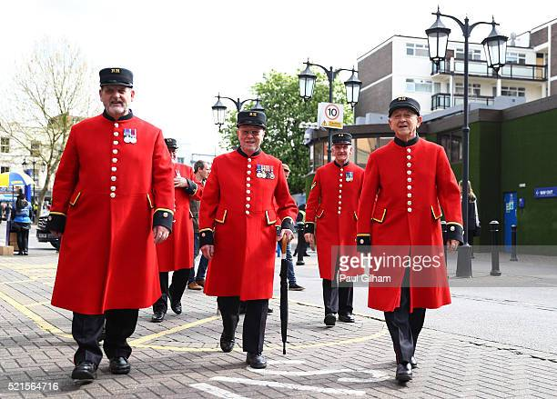 The Chelsea Pensioners arrive during the Barclays Premier League match between Chelsea and Manchester City at Stamford Bridge on April 16 2016 in...
