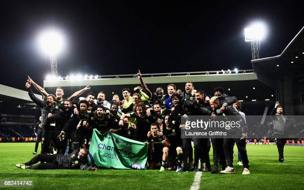 The Chelsea players and staff celebrate winning the leauge after the Premier League match between West Bromwich Albion and Chelsea at The Hawthorns...