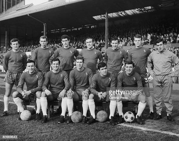 The Chelsea team at Stamford Bridge London February 1966 Back row left to right John Hollins Marvin Hinton Peter Bonetti captain Ron Harris John...