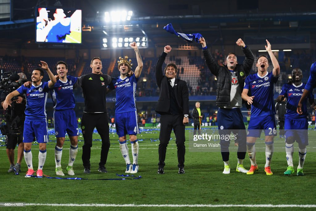 The Chelsea team celebrate after the Premier League match between Chelsea and Watford at Stamford Bridge on May 15, 2017 in London, England.