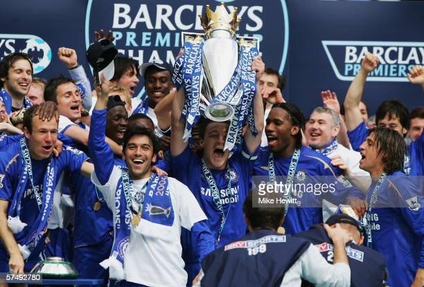 The Chelsea team celebrate winning the Barclays Premiership title after the match between Chelsea and Manchester United at Stamford Bridge on April...