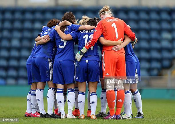 The Chelsea team form a huddle during the Women's FA Cup Semi Final match between Chelsea Ladies and Manchester City Women at Adams Park on May 4...