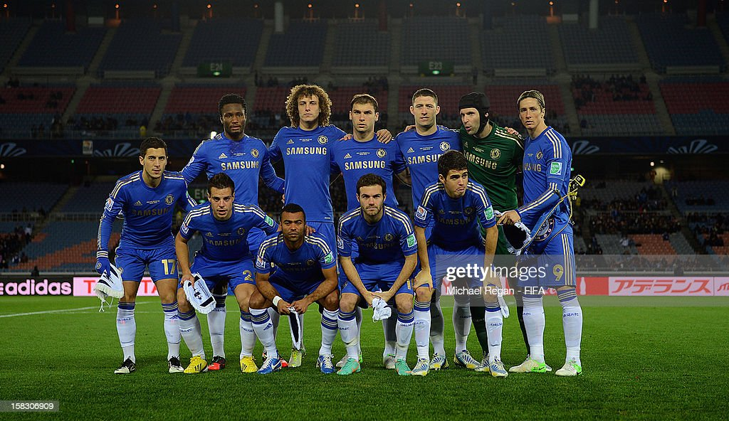 The Chelsea team line up before the FIFA Club World Cup Semi Final match between CF Monterrey and Chelsea at International Stadium Yokohama on December 13, 2012 in Yokohama, Japan.