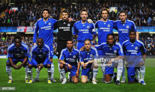 The Chelsea team pose ahead of the UEFA Champions League Quarter Final 2nd Leg match between Chelsea and Fenerbahce at Stamford Bridge on April 8...