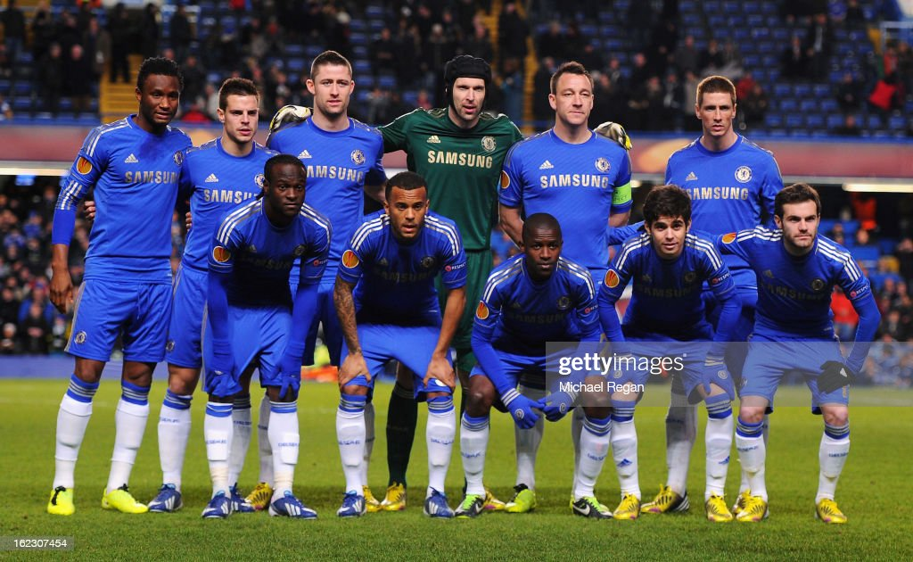 The Chelsea team pose during the UEFA Europa League Round of 32 second leg match between Chelsea and Sparta Praha at Stamford Bridge on February 21, 2013 in London, England.