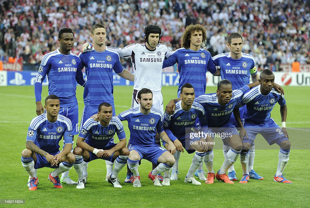 The Chelsea team pose for a team group before the start of the UEFA Champions League Final between FC Bayern Munich and Chelsea at the Fussball Arena Munich on May 19, 2012 in Munich, Germany. Left to right, back row, John Obi Mikel, Gary Cahill, Petr Cech, David Luiz and Frank Lampard, front row, Ryan Bertrand, Ashley Cole, Juan Mata, Jose Bosingwa, Didier Drogba and Salomon Kalou.