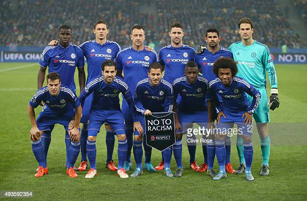 The Chelsea team pose prior to the UEFA Champions League Group G match between FC Dynamo Kyiv and Chelsea at the Olympic Stadium on October 20 2015...