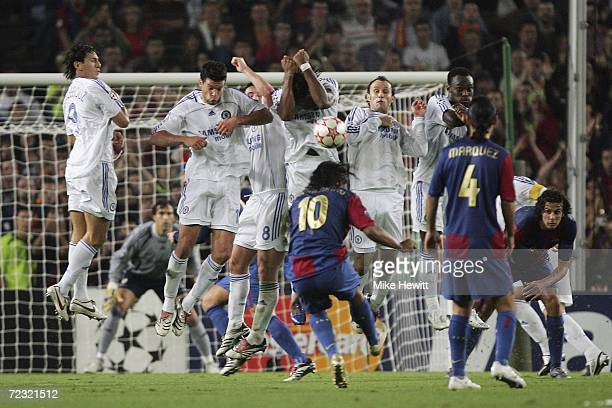 The Chelsea wall holds firm against a Ronaldinho free kick during the UEFA Champions League group A match between Barcelona and Chelsea at the Nou...