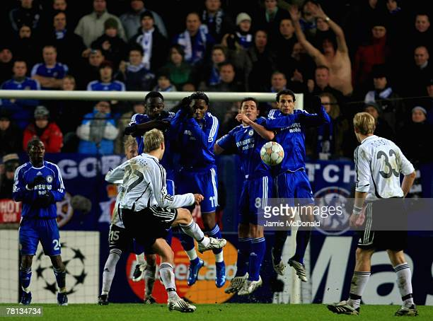 The Chelsea wall stands firm during the Champions League Group B match between Rosenborg BK and Chelsea at the Lerkendal Stadium on November 28 2007...