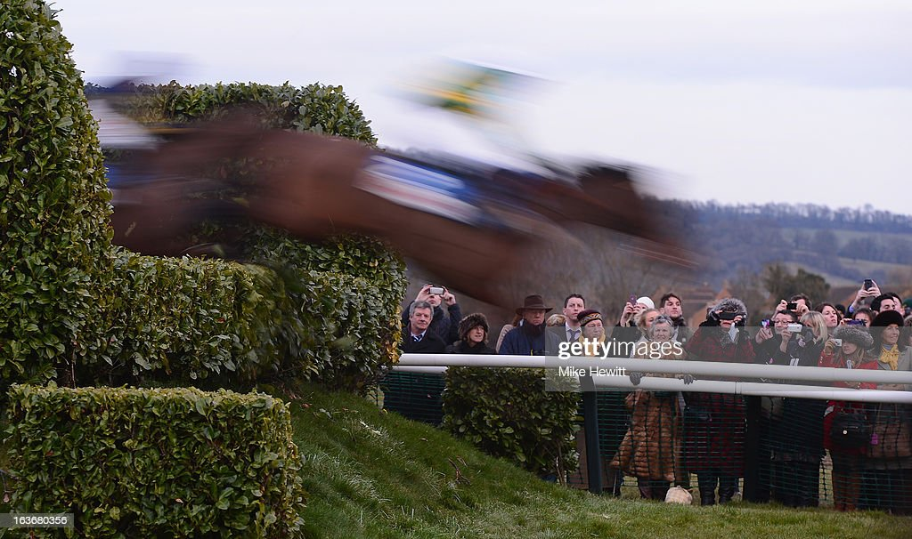 The Cheltenham crowd look on during the Glenfarclas Handicap Chase on St Patrick's Thursday at Cheltenham Racecourse on March 14, 2013 in Cheltenham, England.