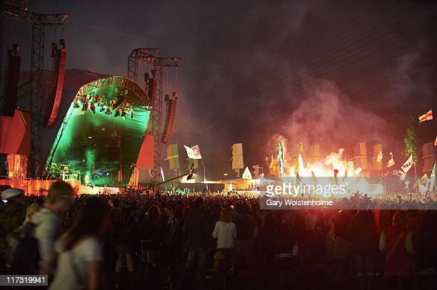The Chemical Brothers perfom on the Other Stage during the third day of Glastonbury Festival 2011 at Worthy Farm on June 25 2011 in Glastonbury...