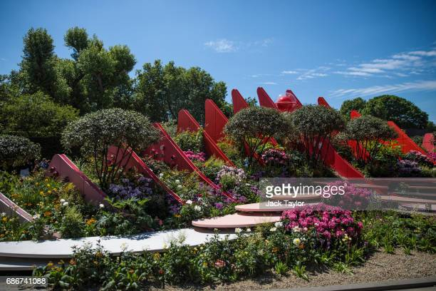 The 'Chengdu Silk Road Garden' on display at the Chelsea Flower Show on May 22 2017 in London England The prestigious Chelsea Flower Show held...
