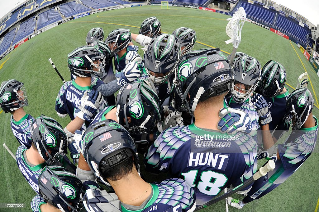 The Chesapeake Bayhawks huddle before a MLL lacrosse game against the Florida Lauch at NavyMarine Corps Memorial Stadium on April 19 2015 in...
