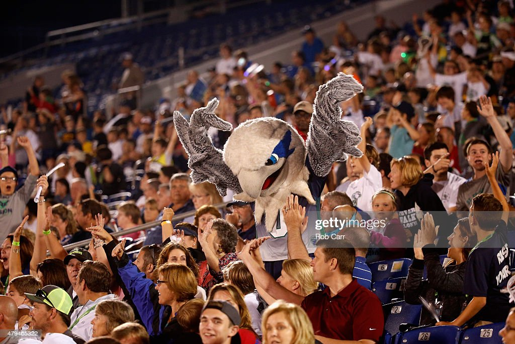 The Chesapeake Bayhawks mascot 'Hawkeye' interacts with fans during their game against the New York Lizards of the at NavyMarine Corps Memorial...
