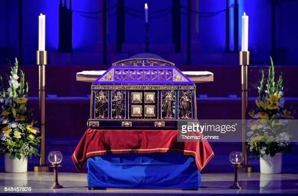 The chest that contains the Eibingen reliquiae treasure pictured after the annual procession during the Catholic Hildegard Pilgrimage events in the...