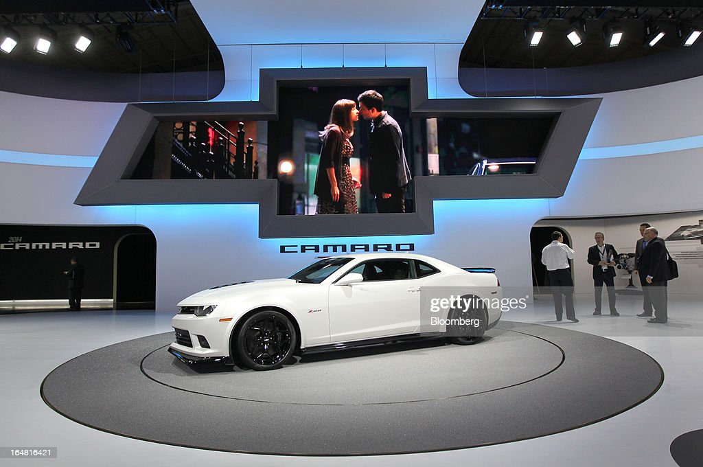 The Chevrolet 2014 Camaro Z28 vehicle sits on display at the company's booth during the 2013 New York International Auto Show in New York, U.S., on Thursday, March 28, 2013. The 113th New York International Auto Show, which runs from March 29 to April 7, features 1,000 vehicles as well the latest in tech, safety and innovation. Photographer: Jin Lee/Bloomberg via Getty Images