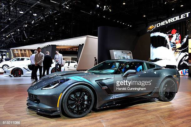 The Chevrolet Corvette Grand Sport is displayed during the Geneva Motor Show 2016 on March 1 2016 in Geneva Switzerland