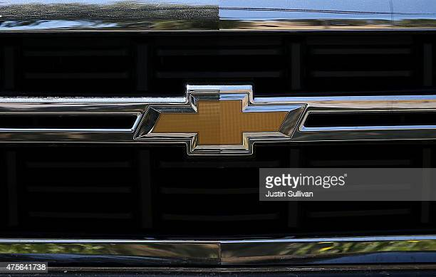 The Chevrolet logo is displayed on a brand new Chevrolet truck at Novato Chevrolet on June 2 2015 in Novato California General Motors posted its best...