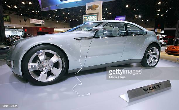 The Chevrolet Volt concept electric car is displayed at the New York International Auto Show April 5 2007 in New York City The show opens to the...