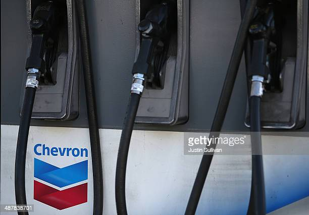 The Chevron logo is displayed on a gas pump at a Chevron gas station on May 2 2014 in San Francisco California Chevron Corp reported a 27 percent...