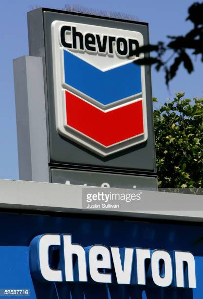 The Chevron logo is seen at a Chevron gas station April 4 2005 in San Francisco California ChevronTexaco Corp the nation's second biggest oil concern...