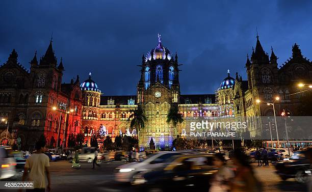 The Chhatrapati Shivaji railway terminus is litup ahead of Independence Day celebrations in Mumbai on August 12 2014 India celebrates its anniversary...
