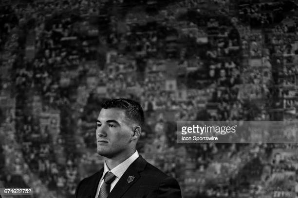 The Chicago Bears first round draft pick quarterback Mitchell Trubisky from North Carolina looks on during a Chicago Bears Press Conference on April...