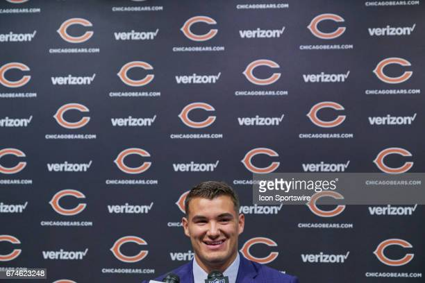 The Chicago Bears first round draft pick quarterback Mitchell Trubisky from North Carolina talks to the media during a Chicago Bears Press Conference...