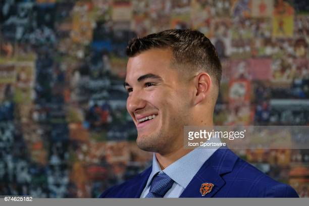 The Chicago Bears first round draft pick quarterback Mitchell Trubisky from North Carolina talks to members of the media during a Chicago Bears Press...