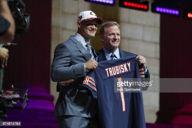 The Chicago Bears select Mitchell Trubisky from North Carolina with the 2nd overall pick at the 2017 NFL Draft poses with NFL Commissioner Roger...