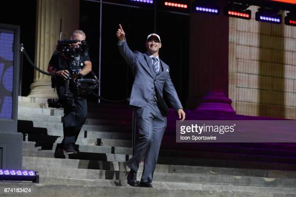 The Chicago Bears select Mitchell Trubisky of North Carolina with the second pick at the 2017 NFL Draft at the 2017 NFL Draft Theater on April 27...