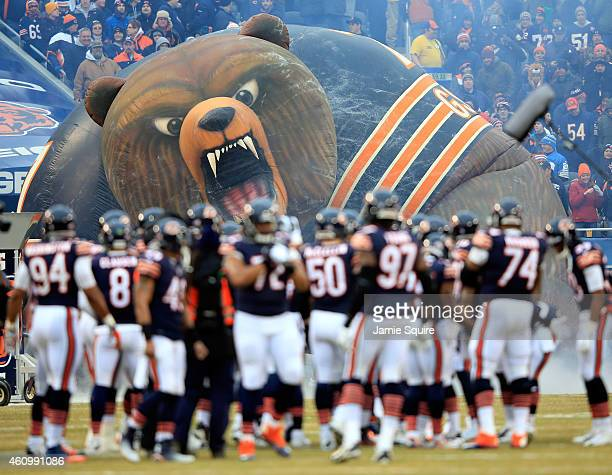 The Chicago Bears take the field prior to the game against the Detroit Lions at Soldier Field on December 21 2014 in Chicago Illinois