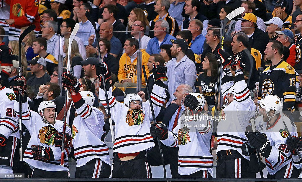The Chicago bench, including their head coach Joel Quenneville go wild after they went ahead 5-4 in the third period. The Boston Bruins hosted the Chicago Blackhawks for Game Four of the Stanley Cup Finals at the TD Garden, June 19, 2013.