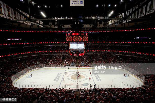 The Chicago Blackhawks and the Anaheim Ducks faceoff to start Game Six of the Western Conference Finals during the 2015 NHL Stanley Cup Playoffs at...