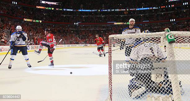 The Chicago Blackhawks' Andrew Shaw reacts after scoring in the third period against St Louis Blues goaltender Brian Elliott during Game 6 of the...