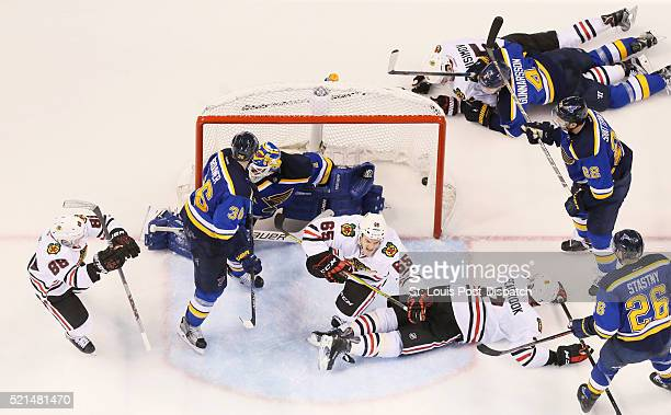 The Chicago Blackhawks' Andrew Shaw reacts after scoring past St Louis Blues goaltender Brian Elliott in the third period during Game 2 of the...