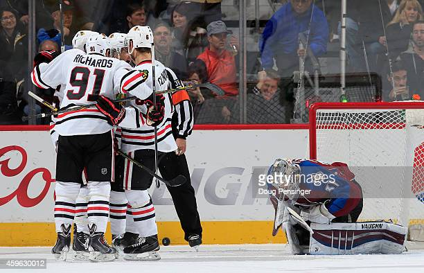 The Chicago Blackhawks celebrate a goal by Andrew Shaw of the Chicago Blackhawks against goalie Calvin Pickard of the Colorado Avalanche to take a 21...