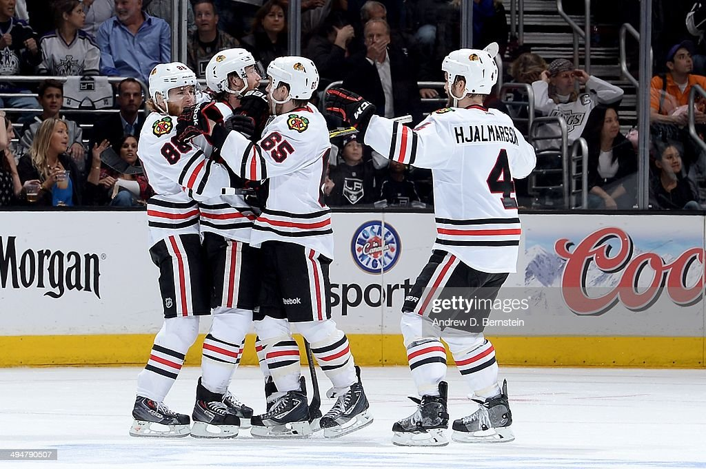 The Chicago Blackhawks celebrate after a goal against the Los Angeles Kings in Game Six of the Western Conference Final during the 2014 Stanley Cup Playoffs at Staples Center on May 30, 2014 in Los Angeles, California.