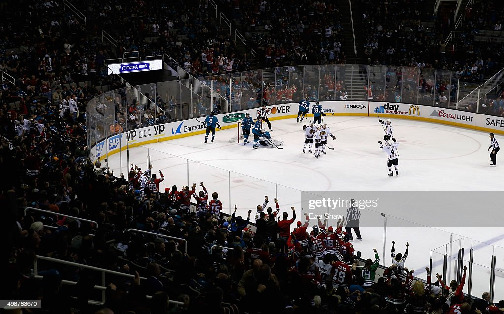 The Chicago Blackhawks celebrate after Andrew Desjardins #11 scored his first goal of the season in the third period against the San Jose Sharks at SAP Center on November 25, 2015 in San Jose, California.