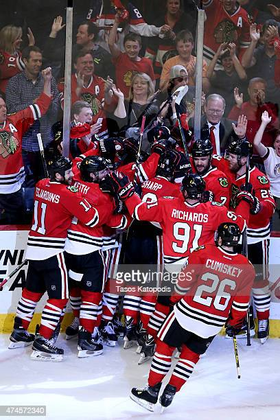 The Chicago Blackhawks celebrate after defeating the Anaheim Ducks 54 in double overtime in Game Four of the Western Conference Finals during the...