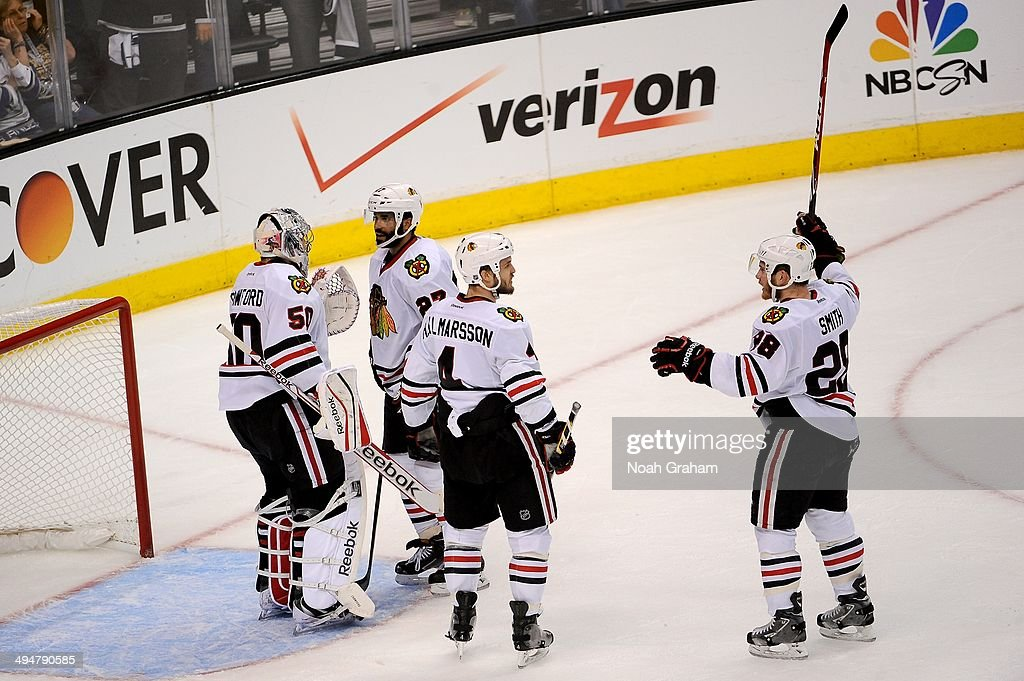 The Chicago Blackhawks celebrate after defeating the Los Angeles Kings in Game Six of the Western Conference Final during the 2014 Stanley Cup Playoffs at Staples Center on May 30, 2014 in Los Angeles, California.