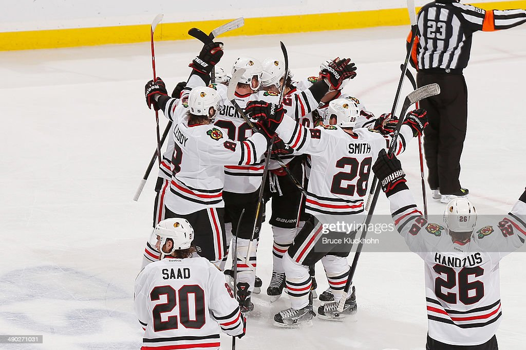 The Chicago Blackhawks celebrate after defeating the Minnesota Wild in Game Six of the Second Round of the 2014 Stanley Cup Playoffs on May 13, 2014 at the Xcel Energy Center in St. Paul, Minnesota.