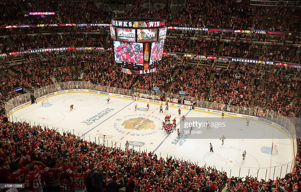 The Chicago Blackhawks celebrate after defeating the Nashville Predators 3-2 in triple overtime during Game Four of the Western Conference Quarterfinals during the 2015 NHL Stanley Cup Playoffs at the United Center on April 21, 2015 in Chicago, Illinois.