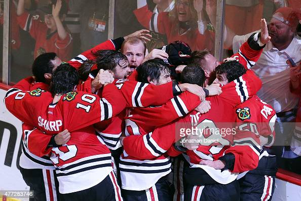 The Chicago Blackhawks celebrate after defeating the Tampa Bay Lightning by a score of 20 in Game Six to win the 2015 NHL Stanley Cup Final at the...