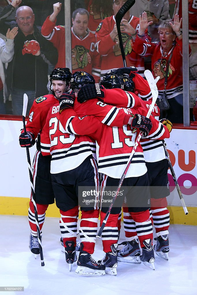 The Chicago Blackhawks celebrate after Patrick Kane #88 scored a goal in the third period against the Los Angeles Kings during Game Five of the Western Conference Finals of the 2013 NHL Stanley Cup Playoffs at United Center on June 8, 2013 in Chicago, Illinois.